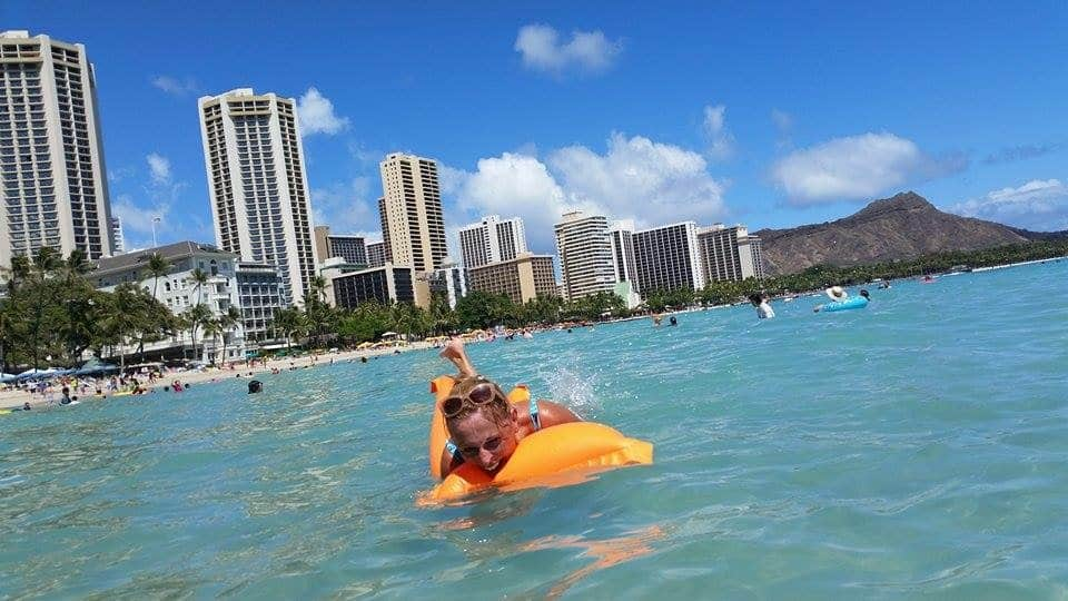 Waikiki beach body boarding