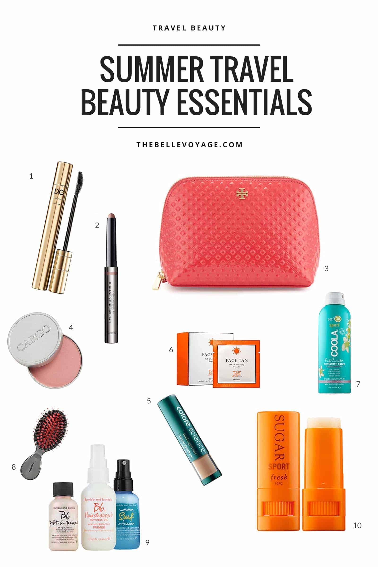 summer travel beauty essentials, travel beauty bag, vacation beauty