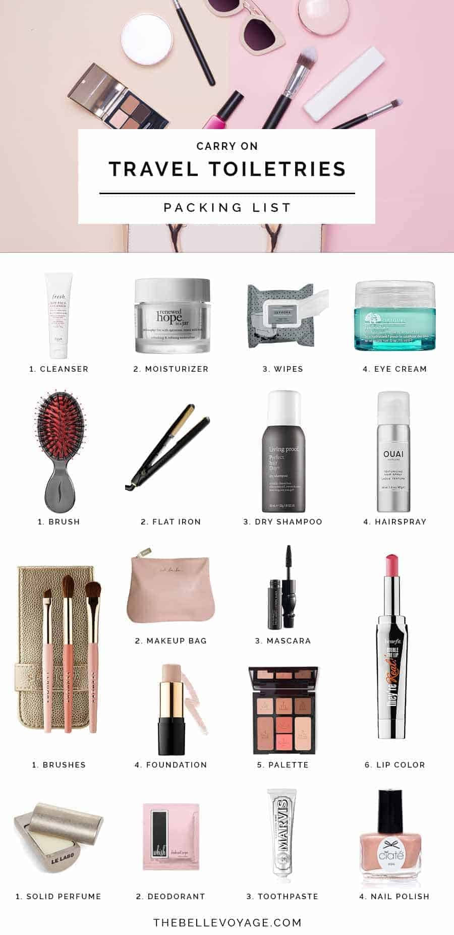 travel toiletries packing list