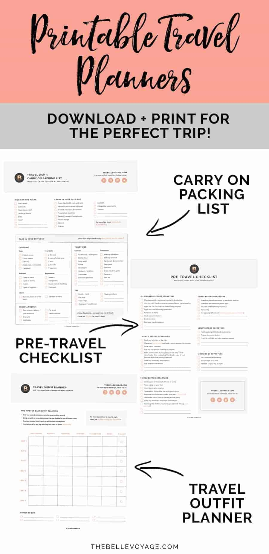 Printable Travel Checklist Packing List