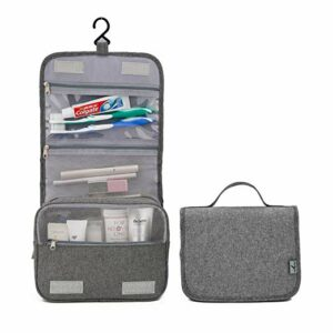 gray hanging travel toiletry bag
