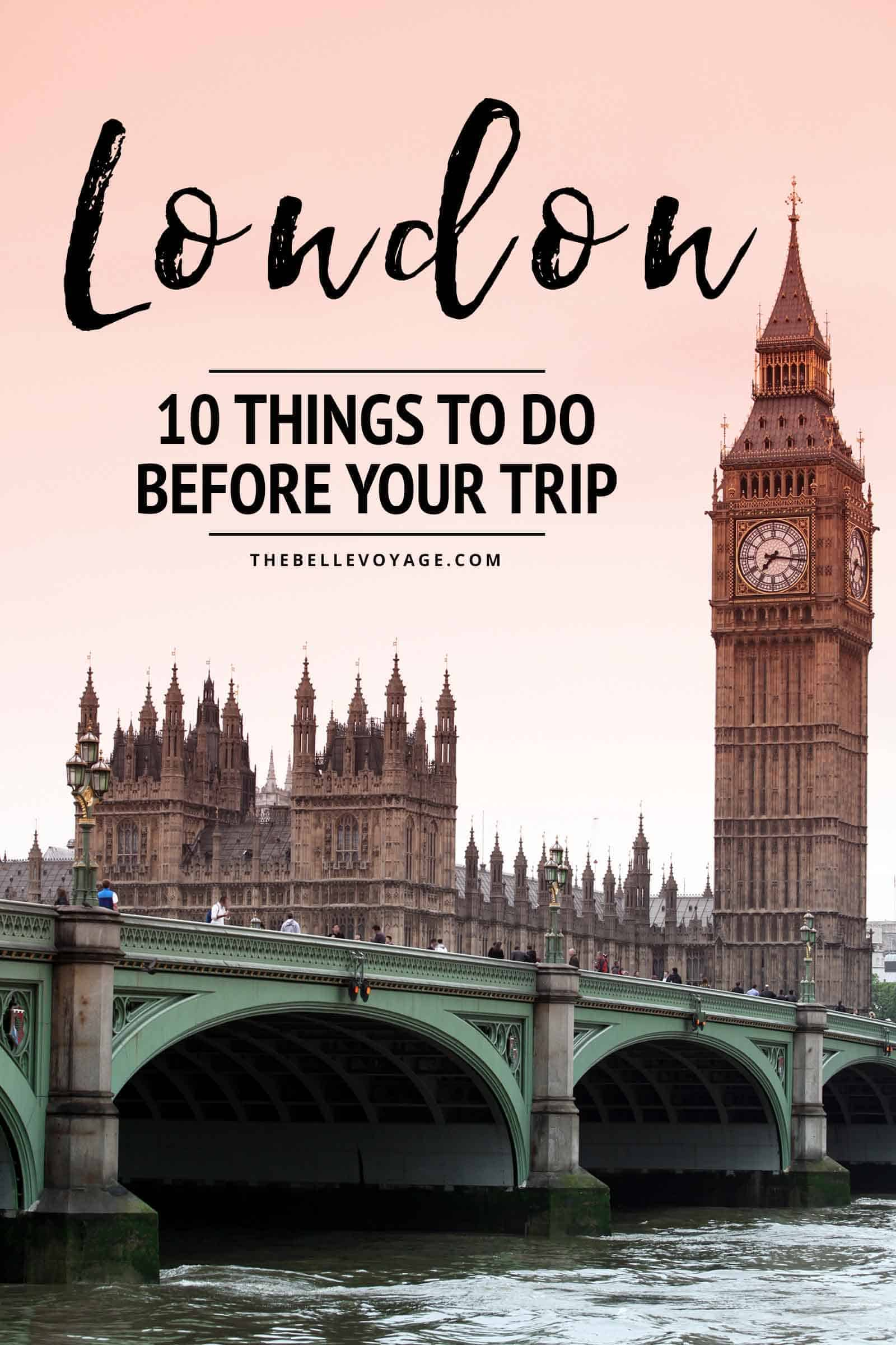 checklist for traveling to London things to know